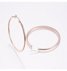 Hoop Earring Round  45mm Stainless Steel  Rose Gold x1 Pair