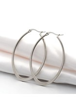 Hoop Earring Oval  58x38mm Stainless Steel  x1 Pair
