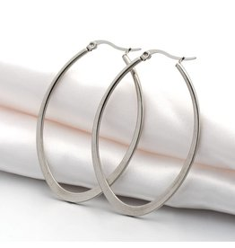 Hoop Earring Oval  58x38mm Stainless Steel  x1 Pair