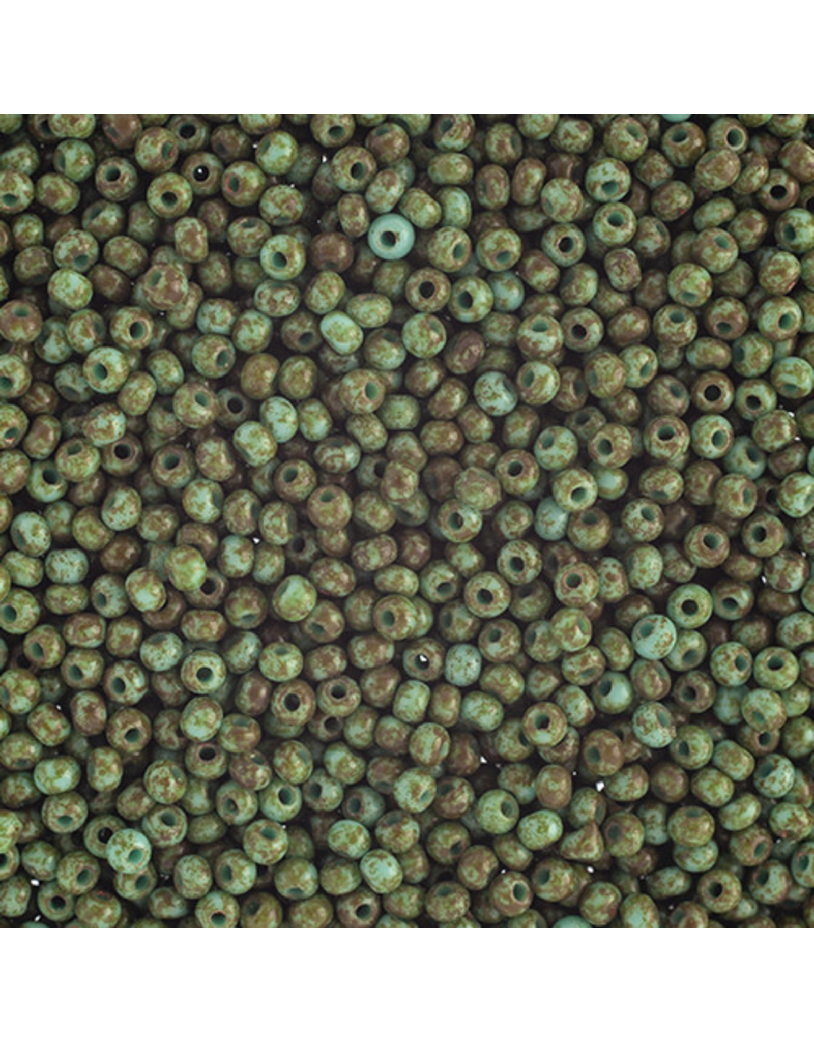 Czech *1523B 10   Seed 125g Opaque Turquoise Travertine