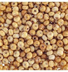 Czech *401522B 6   Seed 125g  Opaque White Travertine Brown