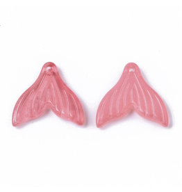 19x19x3mm Glass Mermaid Tail  Light Coral  x6