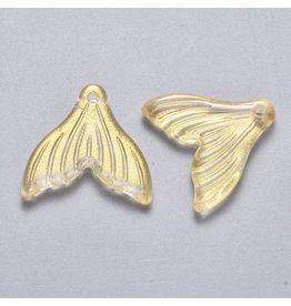 19x19x3mm Glass Mermaid Tail Gold  x6