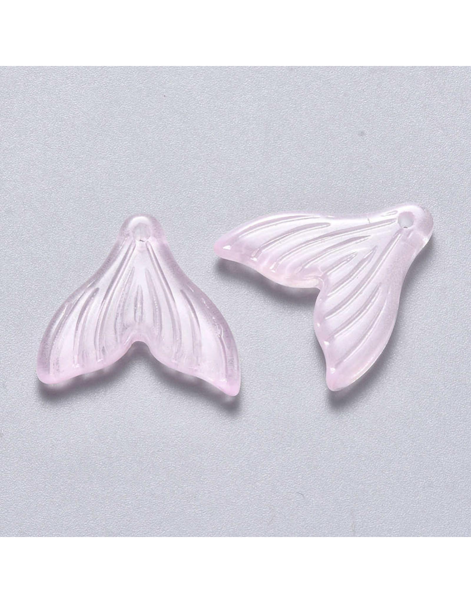 19x19x3mm Glass Mermaid Tail Pink  x6