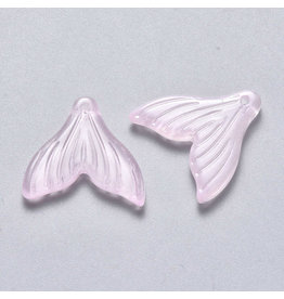 19x19x3mm Glass Mermaid Tail Pink  x6