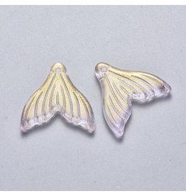 19x19x3mm Glass Mermaid Tail Lilac Purple  x6