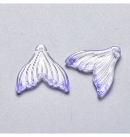 19x19x3mm Glass Mermaid Tail Purple  x6