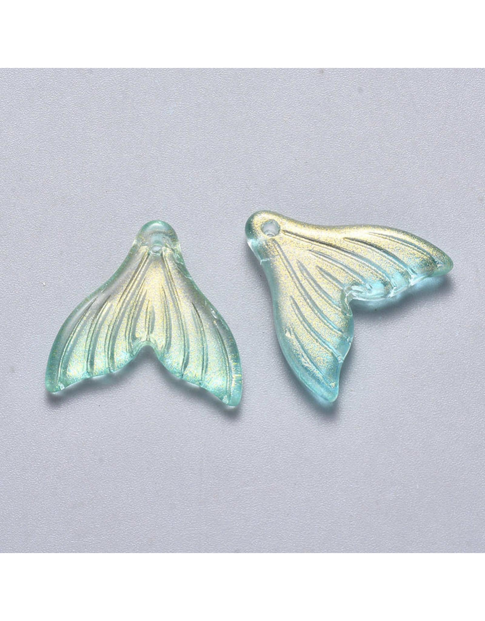 19x19x3mm Glass Mermaid Tail Turquoise Blue  x6