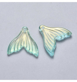 19x19x3mm Glass Mermaid Tail Turquoise Blue  x6