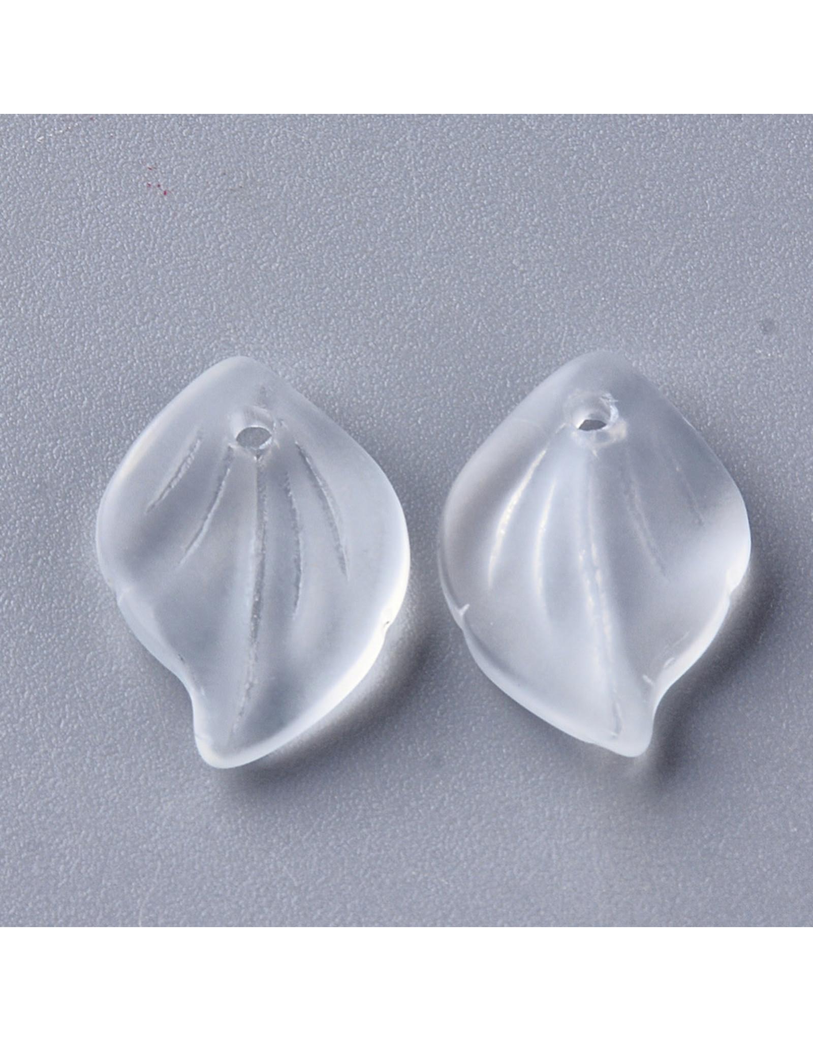 16x11x3mm Glass Leaf  Clear Matte x10