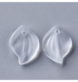 16x11x3mm Glass Leaf  Clear Matte x10