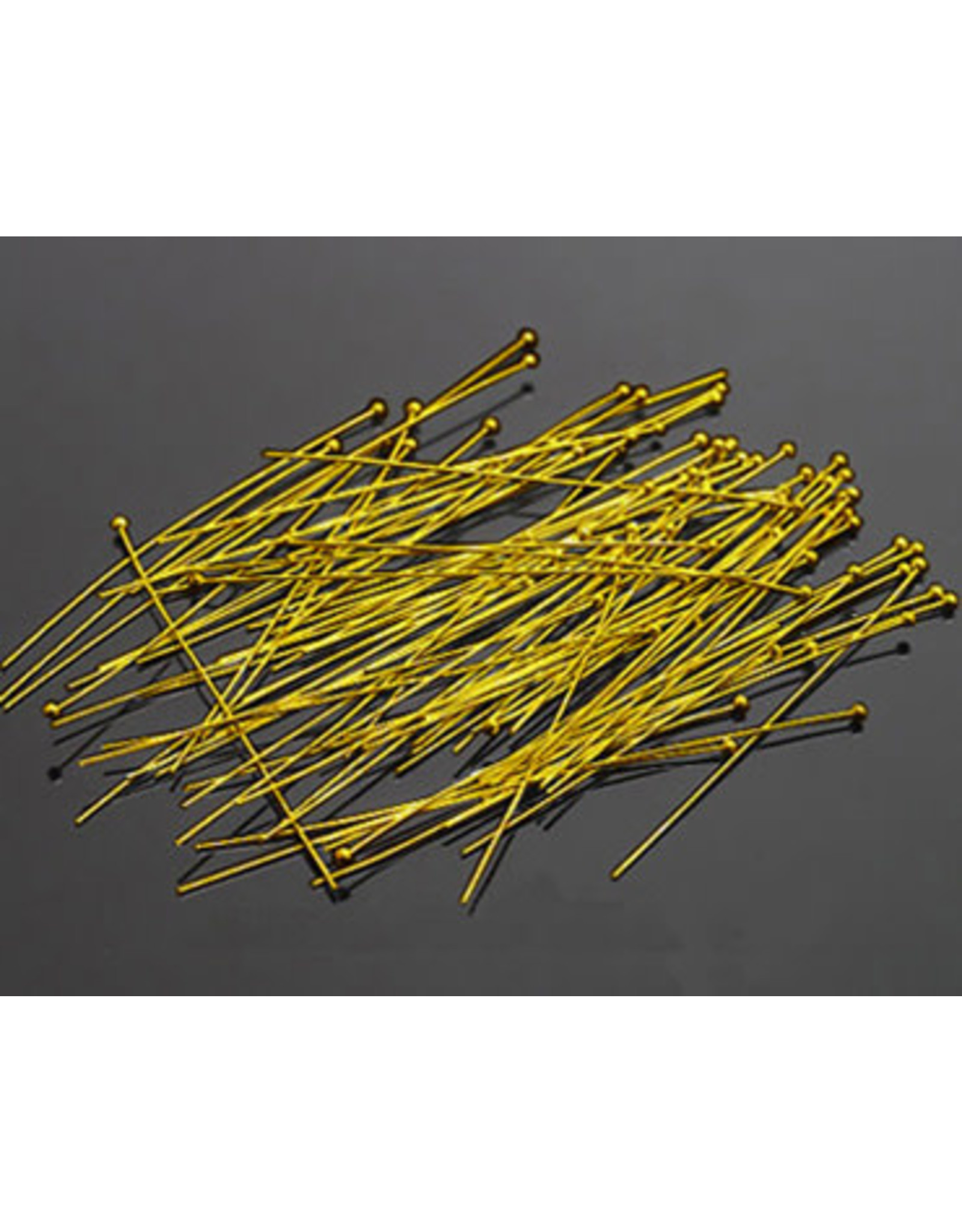 """Headpin with 1.5mm Ball  2"""" 22g  Gold   x100   NF"""