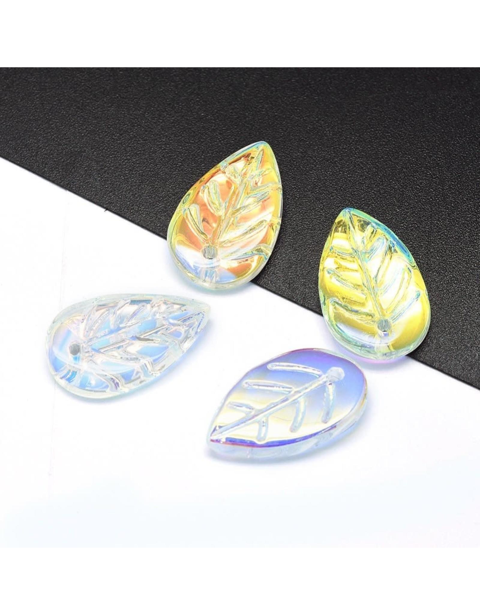 18x11x3mm Glass Leaf  Clear AB x10