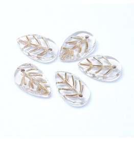 18x11x3mm Glass Leaf  Clear Gold  x10