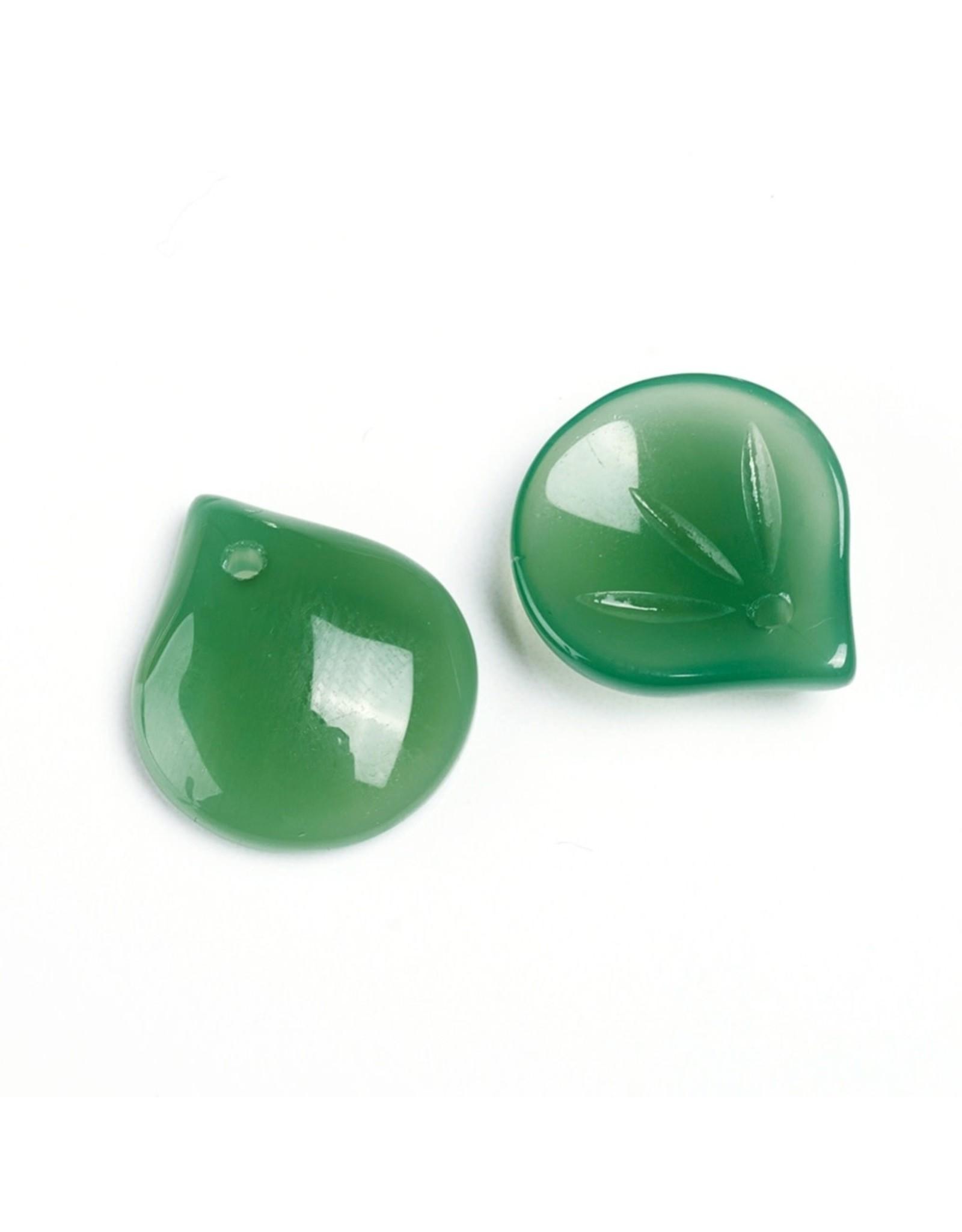 15x13x4mm Glass Leaf  Green  x10