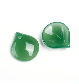 15x13x4mm Glass Leaf  Green  x10