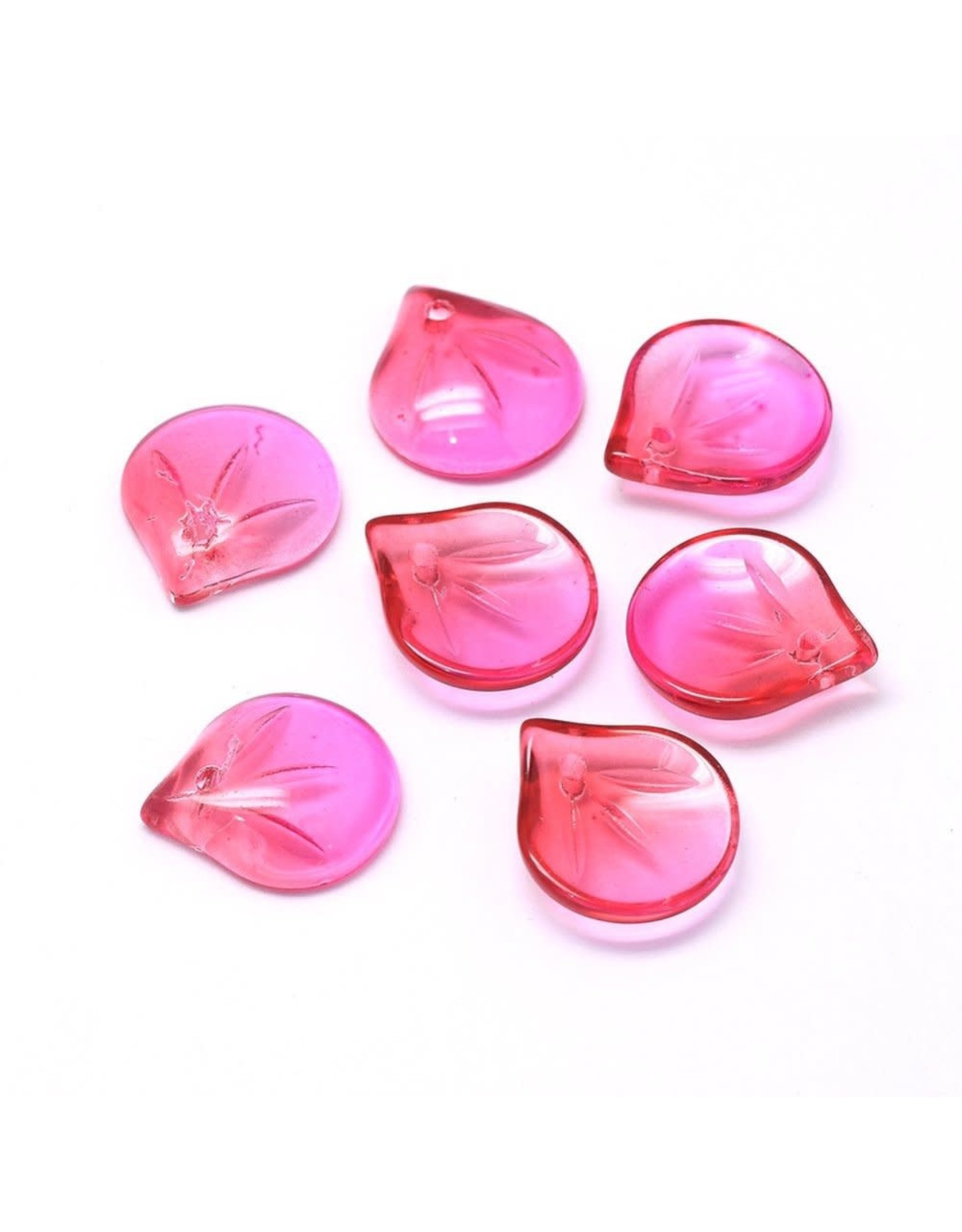 15x13x4mm Glass Leaf  Pink Fuchsia  x10