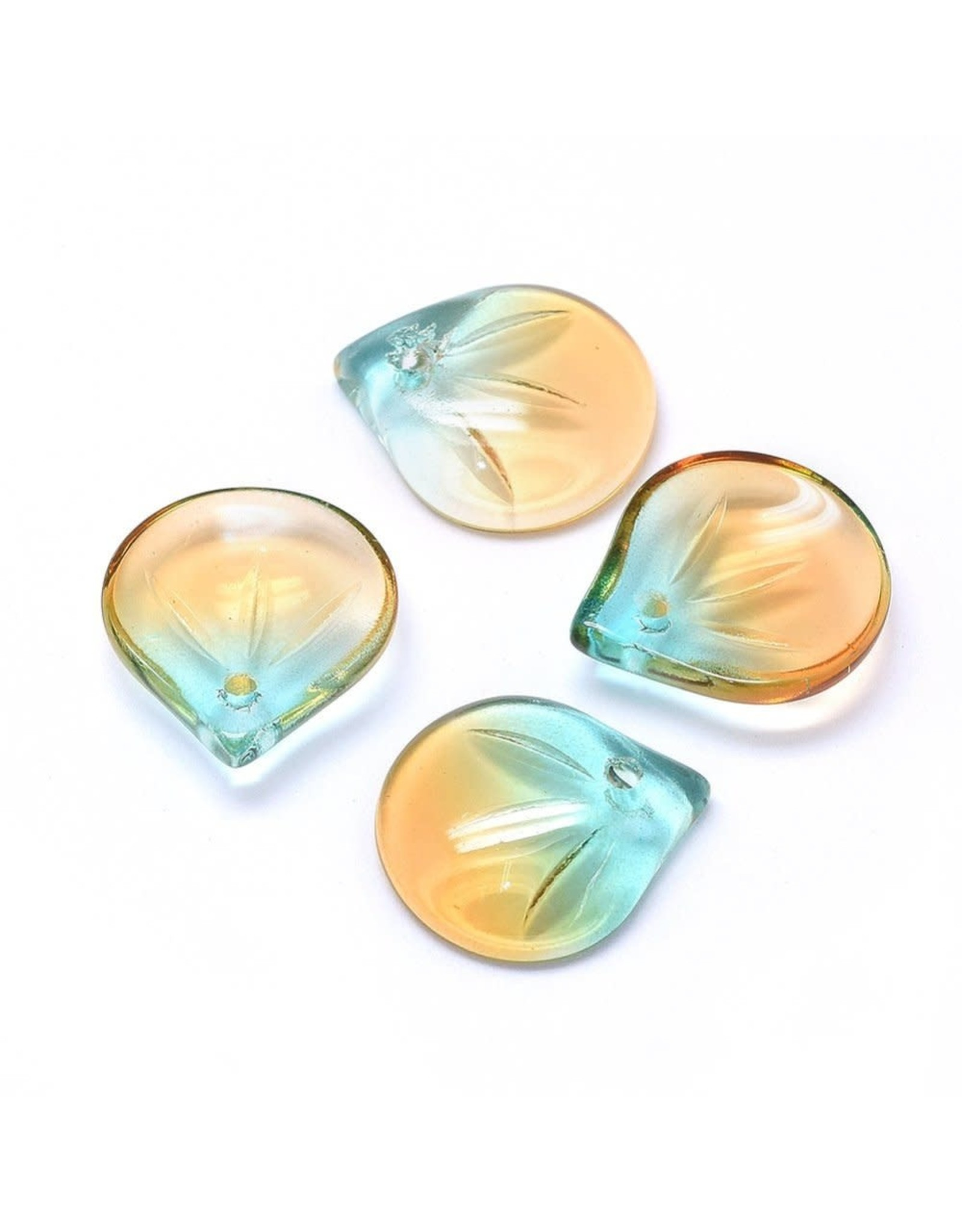 15x13x4mm Glass Leaf  Topaz Teal Blue  x10