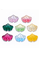 15x20x4mm Glass Ginko Leaf  Assorted  x3 pair