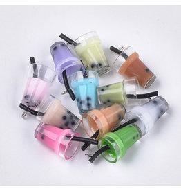 Bubble Tea  Plastic Assorted Colours  23x13x13mm  x6  Random  Mix Pairs