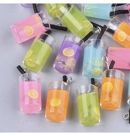 Lemonade Glass Assorted Colours  26x15mm  x6  Random  Mix Pairs