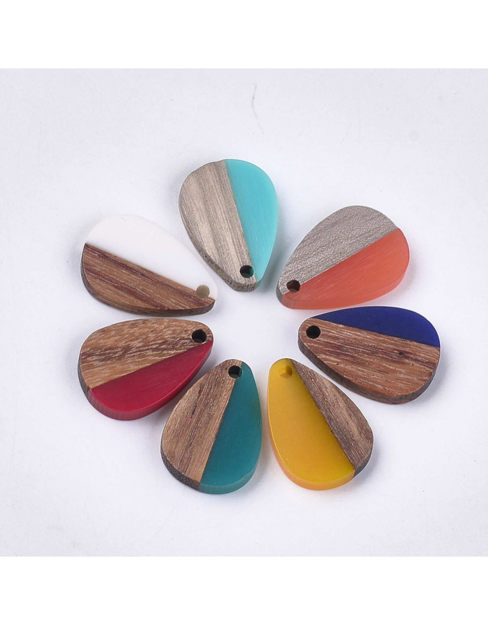 Wood Resin Drop  Assorted Colours  21x14x3mm  x1  Random Colour Pair