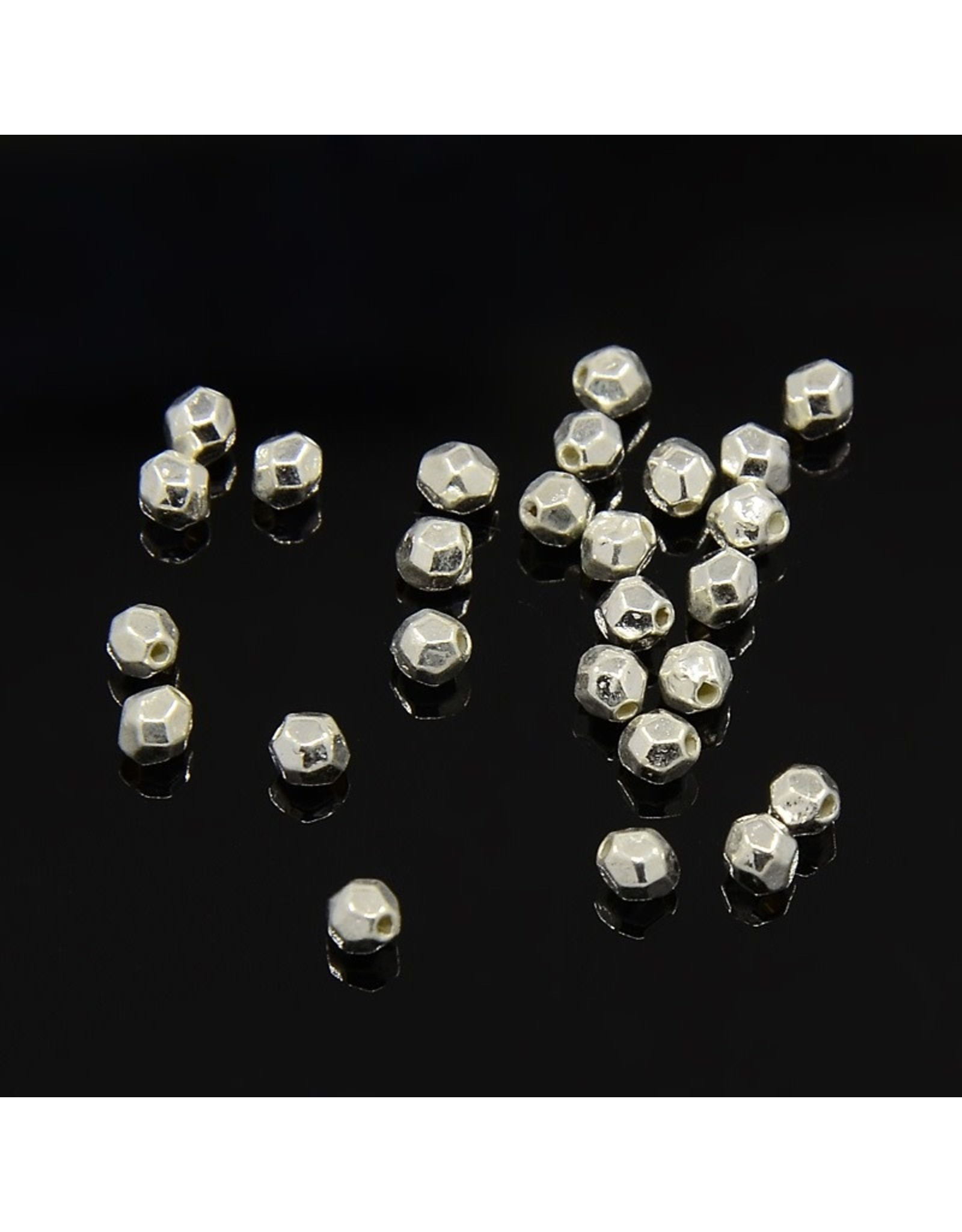 Oval Faceted Spacer Bead  Silver 3.5x3.5mm  x100 NF