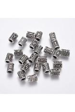 Tube Rune Bead  Antique Silver 13x10mm  x24 NF