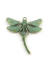 Dragonfly 55x50x3mm  Antique Bronze Verdigris Green  x1 NF