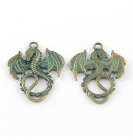Dragon 35x27x2mm Antique Bronze Verdigris Green x1 NF