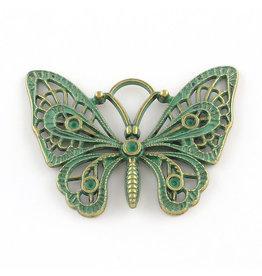 Butterfly  36x48x3mm  Antique Bronze Verdigris Green  x1 NF