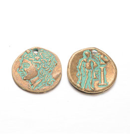 Coin  23mm  Antique Bronze Verdigris Green  x1 NF