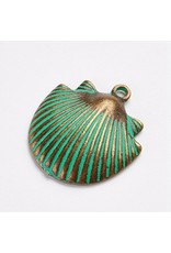 Shell 24x22x4mm  Antique Bronze Verdigris Green  NF