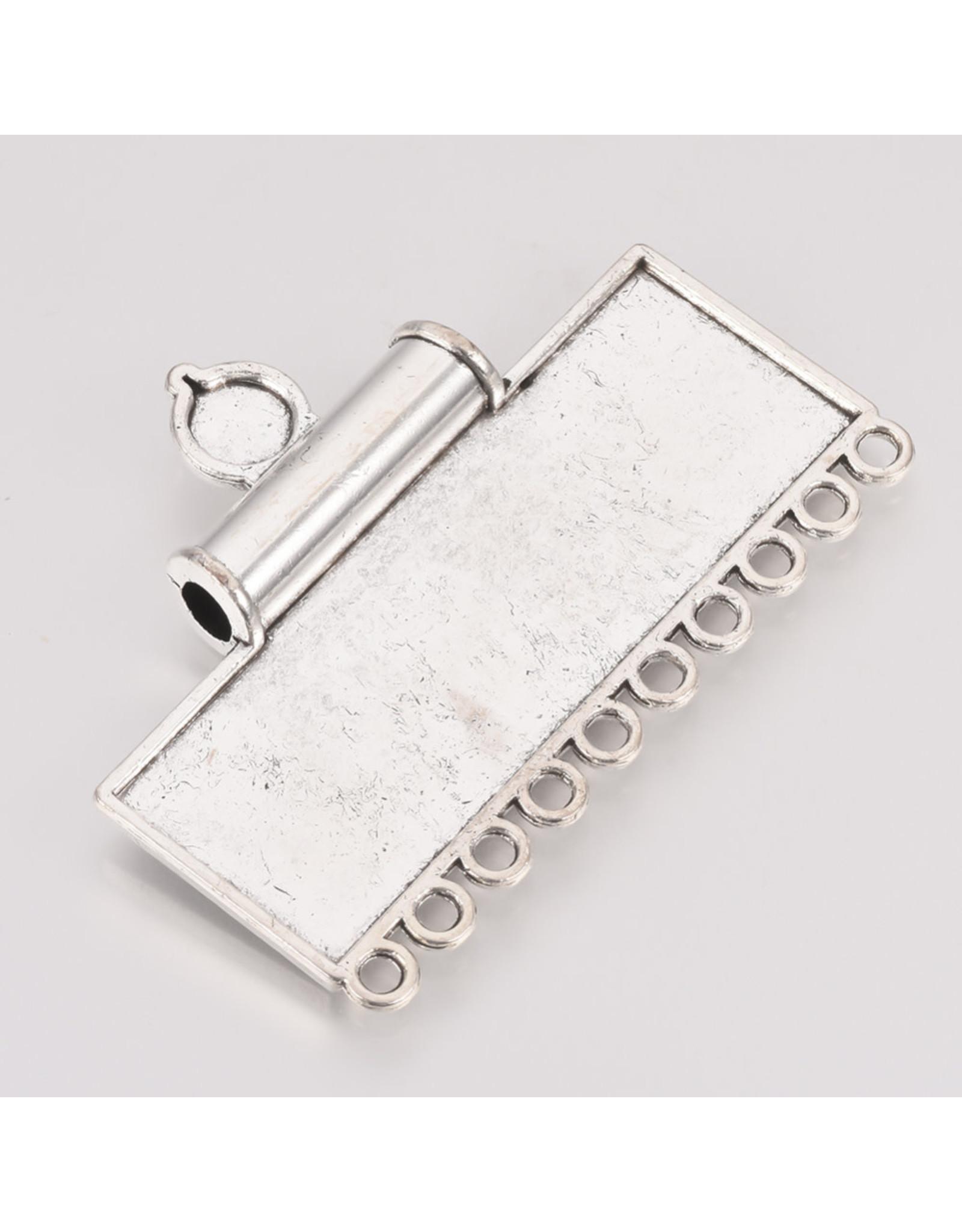 Rectangle Pendant 43x59x9mm Antique Silver x1
