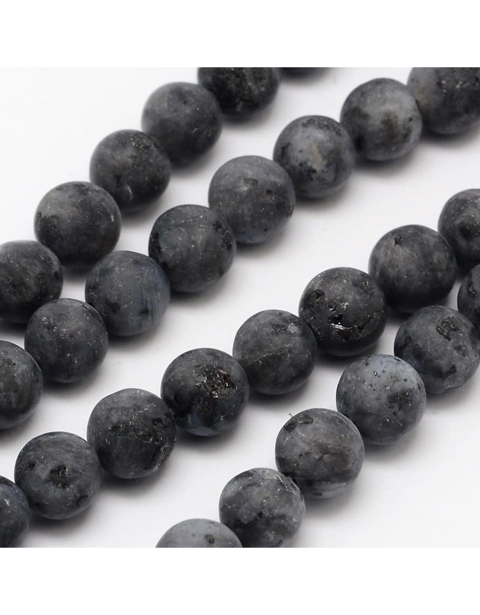 """Labradorite Matte 6mm Black Grey  15"""" Strand  apprx 60 beads"""
