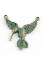 Hummingbird Link (2 loops) 40x38mm Verdigris Green  x1  NF