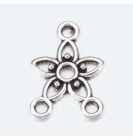 Flower Link (1to2) 12x21mm Antique Silver  x10  NF