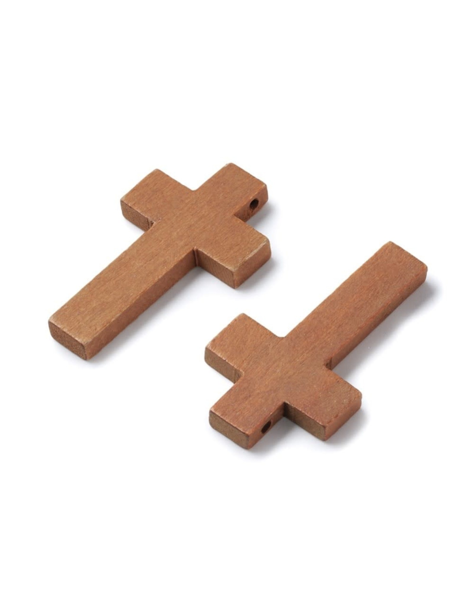 Cross 42x24mm Medium Brown Maple Wood  x1