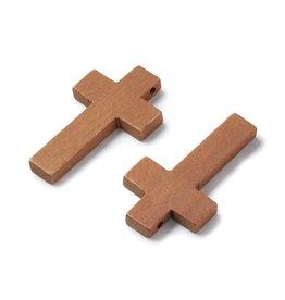 Cross 42x24mm Medium Brown Maple Wood  x1