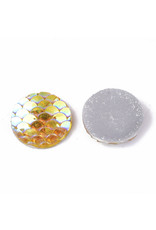Mermaid Fish Scale Round Resin Cabochon 12x3mm Gold Yellow  x10