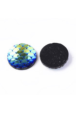 Mermaid Fish Scale Round Resin Cabochon 12x3mm Black AB x10