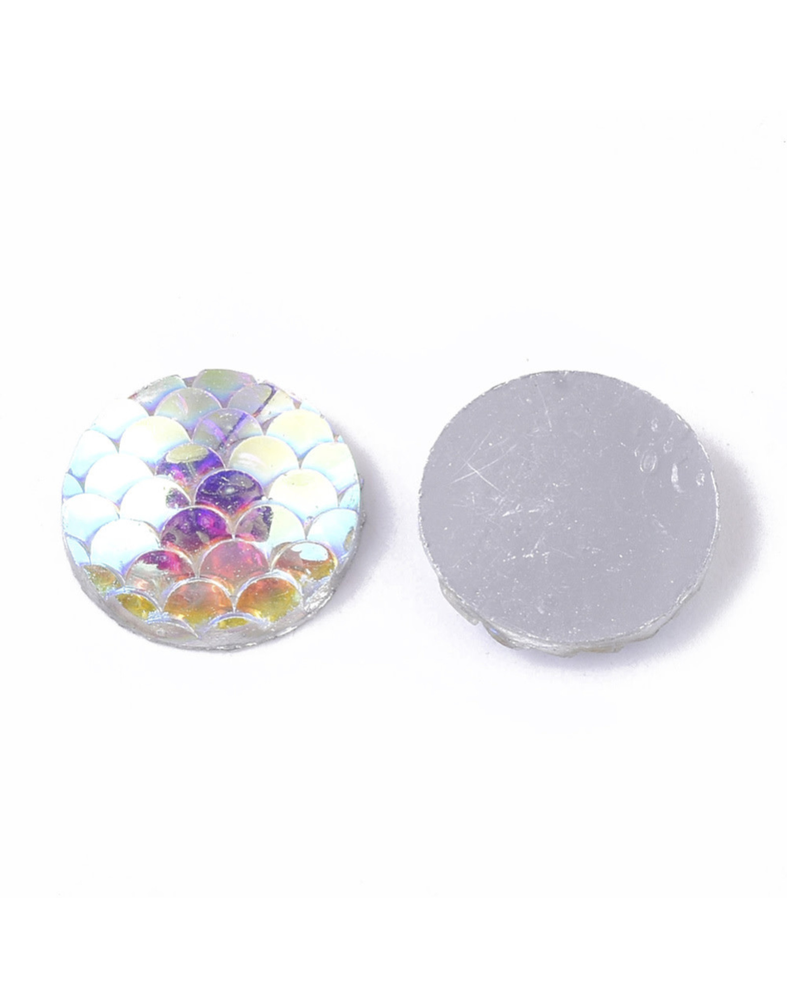 Mermaid Fish Scale Round Resin Cabochon 12x3mm Clear AB  x10