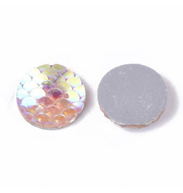 Mermaid Fish Scale Round Resin Cabochon 12x3mm Pink AB x10