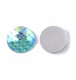 Mermaid Fish Scale Round Resin Cabochon 12x3mm Turquoise Blue AB x10