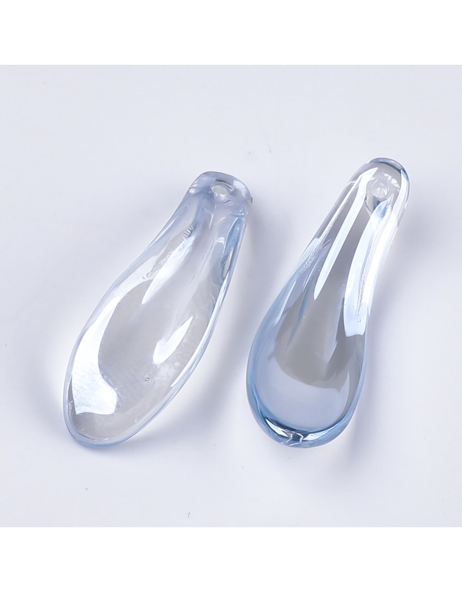 26x9x6mm Glass Curved Petal Steel Blue  x10
