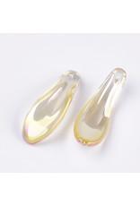 26x9x6mm Glass Curved Petal Gold  x10