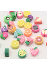 10x4mm Polymer Clay Assorted Fruit  x5pr