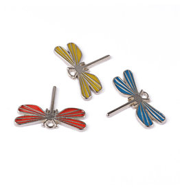 Dragonfly 21x30mm  Platinum Red,Blue and Yellow  x3 pair NF