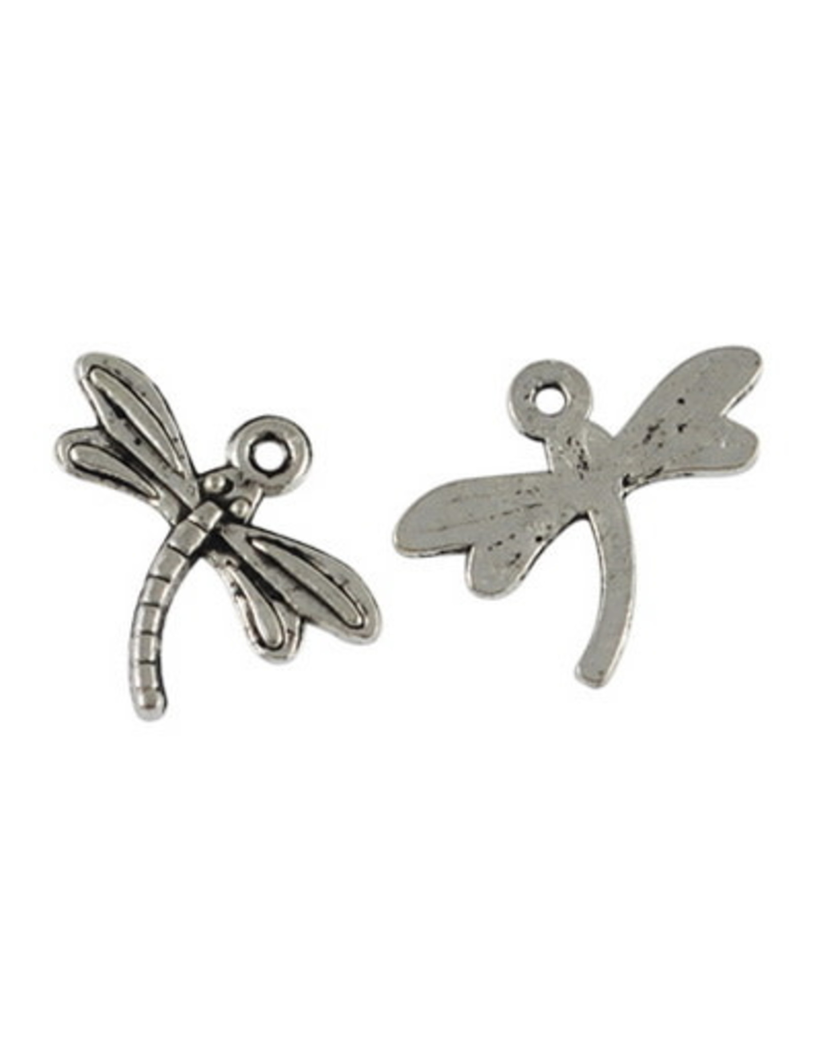Dragonfly 15x17mm Antique Silver x10  NF