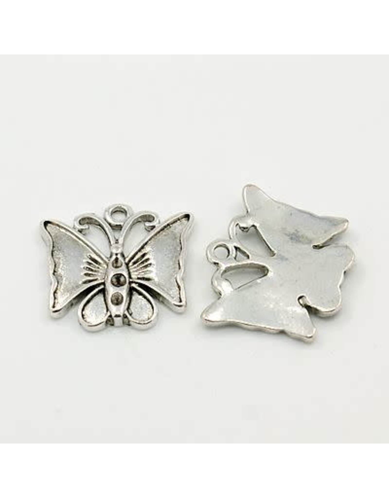 Butterfly 17x18mm Antique Silver x5  NF